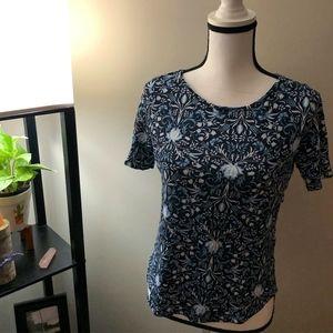 LOFT Linen Blue Paisley Short Sleeve Shirt
